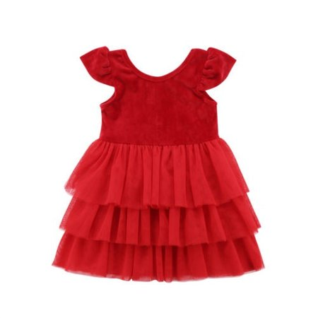 Cute Kids Baby Girls Christmas Red Layered Pageant Party Tulle Dress Dresses - Kids Christmas Dresses