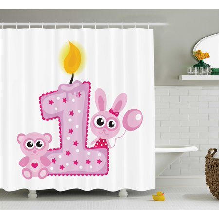 1st Birthday Decorations Shower Curtain, Girls Party Theme with First Candle Bunny and Bear Image, Fabric Bathroom Set with Hooks, 69W X 84L Inches Extra Long, Hot Pink and Lilac, - Girl First Birthday Themes