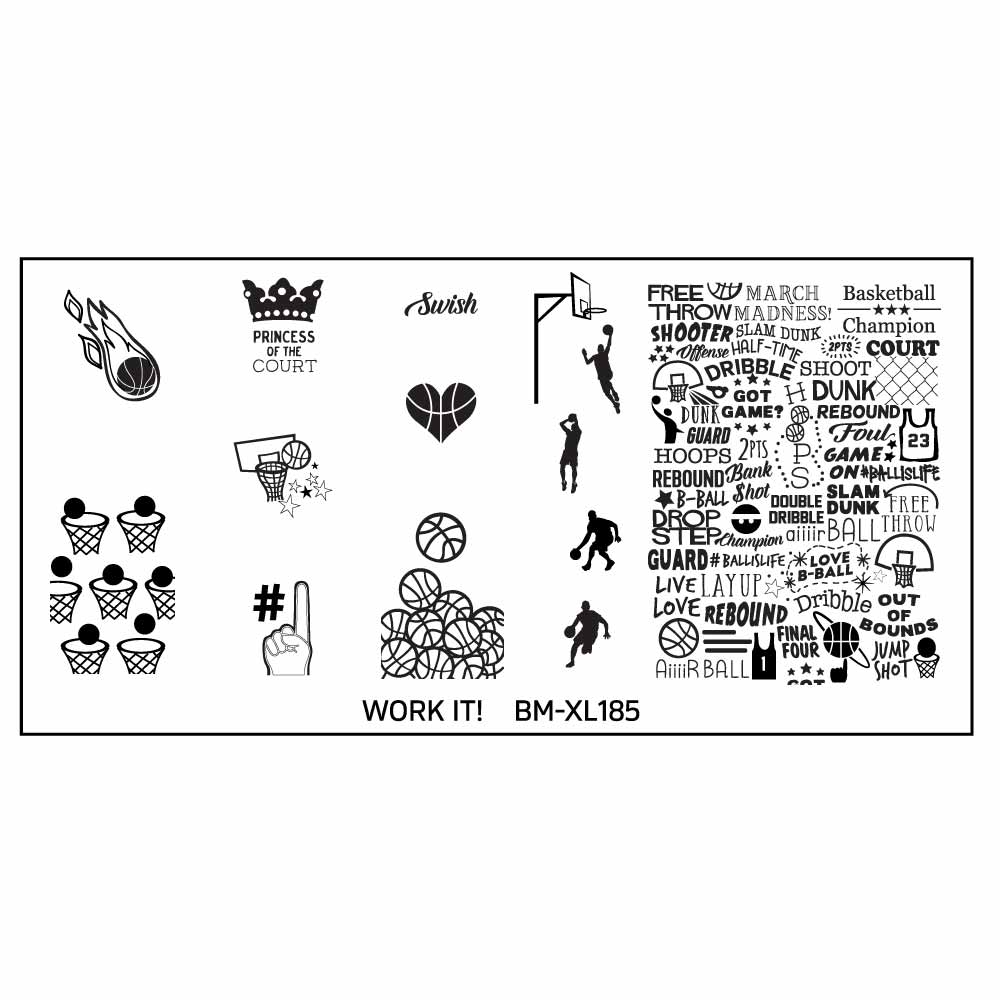 Go Team! Sports Themed Nail Art Stamping XL Plate Set 3 : Work It ...