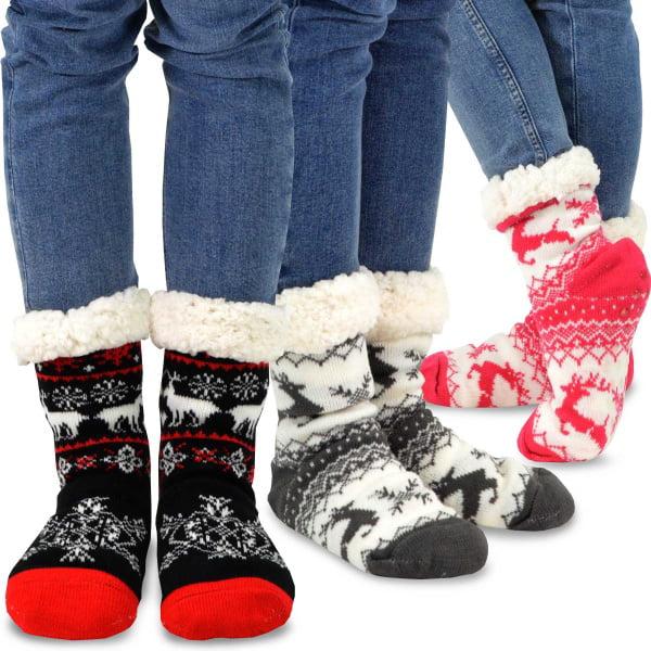 3 Pairs Womens Warm Soft Cosy Socks Snowflake Pattern Size 9-11 Winter