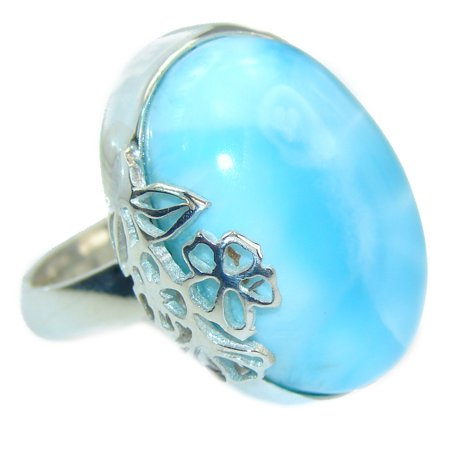 Vintage Design Natural Larimar .925 Sterling Silver handcrafted  Ring s. 8 adjustable by SilverRush Style