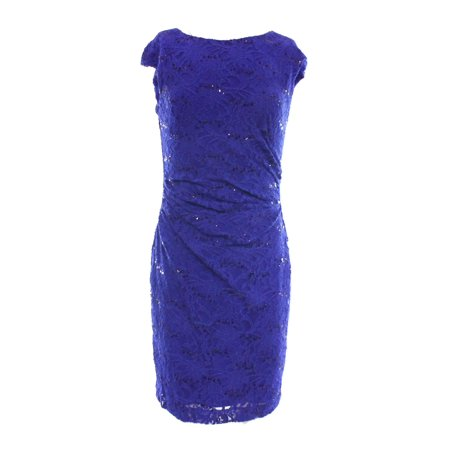 Lauren Ralph Lauren NEW Blue Shimmer-Sequin Women's 16 Sheath Dress $174 #248