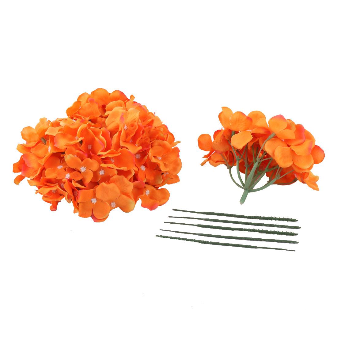 Celebration Aritificial Flower Handcraft Garland Bouquet Decor Orange 5pcs