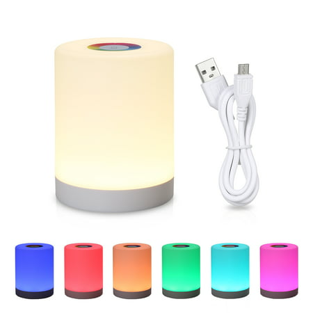 DC5V 4W Touch Control LED Night Light Lamp 3 Levels Brightness Dimmable SOS/ Color Changing Lighting Modes USB Powered Operated Built-in 1200mAh High Capacity Rechargeable Battery Portable for Bedroo - image 1 of 7