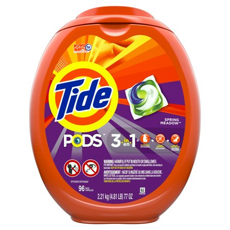Tide Pods Spring Meadow, Laundry Detergent Pacs, 96