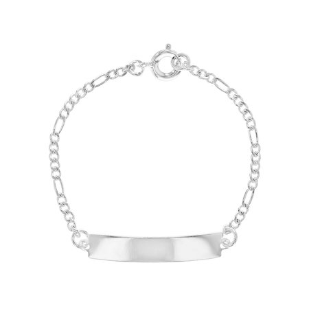 Silver Plated Classic Figaro Link Chain Tag ID bracelets for Kids 5