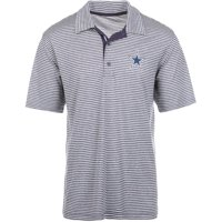 Men's Heathered Charcoal Dallas Cowboys Denali Striped Polo