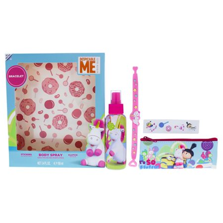 Fluffy by MPF for Kids - 4 Pc Gift Set 3.4oz Body Spray Clutch Stickers Bracelet