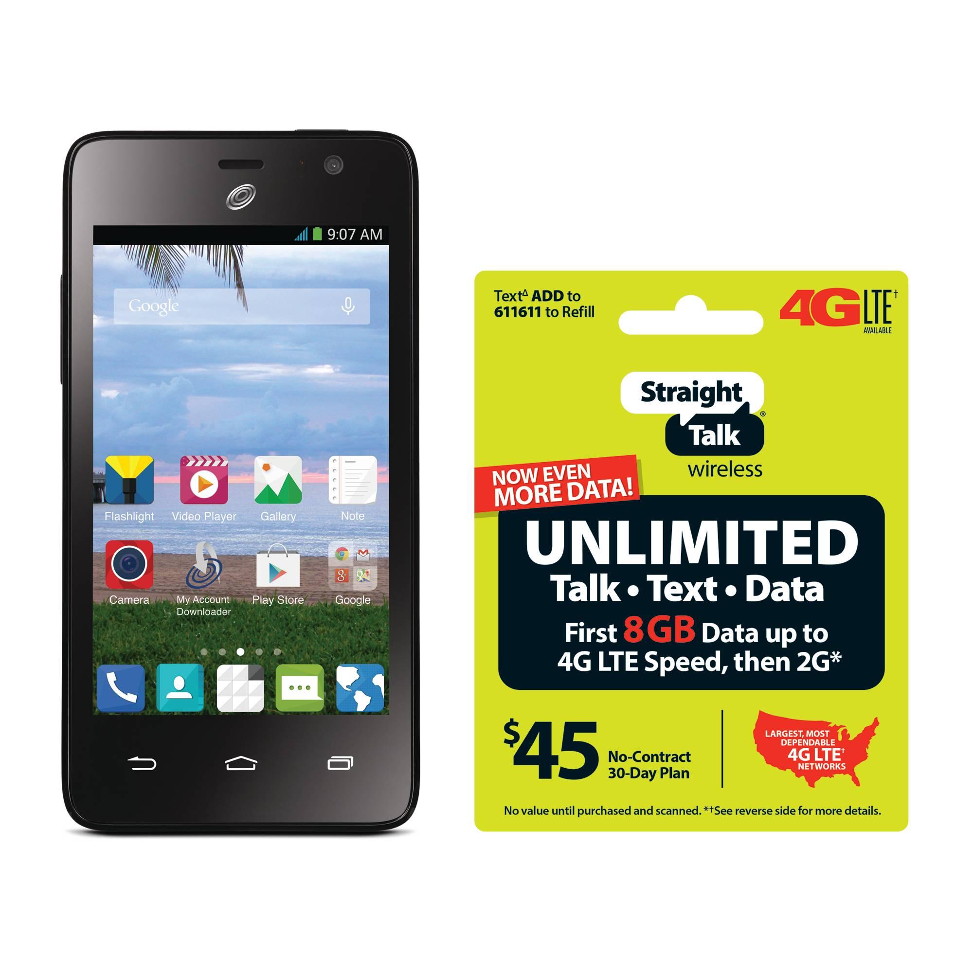 Refurbished Straight Talk ZTE Zephyr Android Prepaid Smartphone with BONUS $45/30-Day Plan