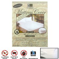 Twin Size Fabric Zippered Mattress Cover Allergy Relief Bed Bugs Water Protector
