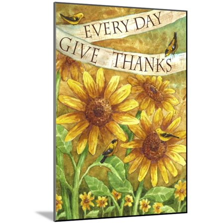 Give Thanks Word Art - Sunflower Give Thanks Everyday Wood Mounted Print Wall Art By Melinda Hipsher
