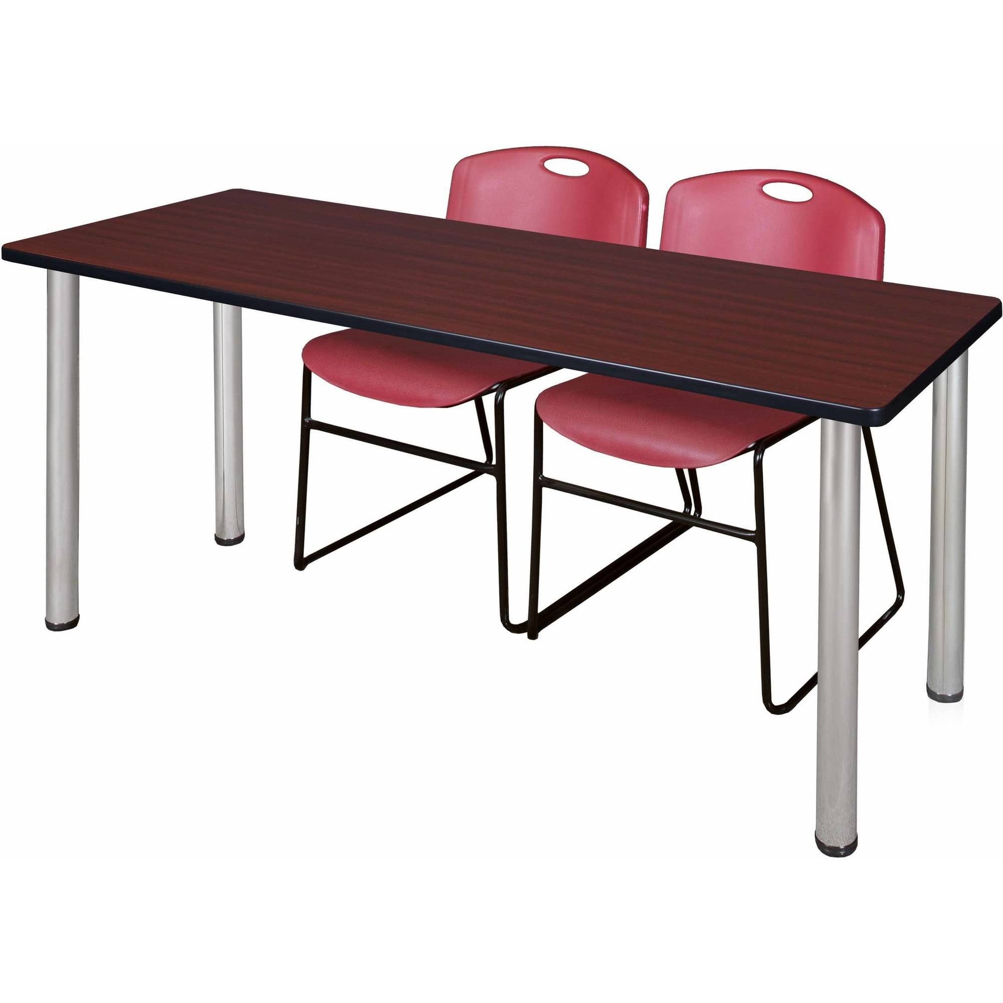 "Regency Kee 66"" x 24"" Training Table, Mahogany/Chrome and 2 Zeng Stack Chairs, Multiple Colors"