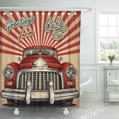 - PKNMT Havana Vintage Touristic with Retro Car Cuba Old Sign Vacation Machine 1970S 1950S Waterproof Bathroom Shower Curtains Set 66x72 inch