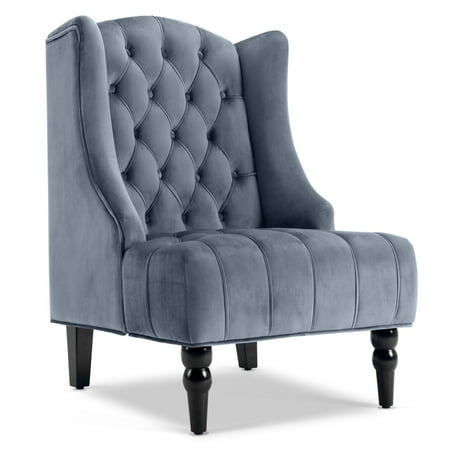 Petite Wingback Chair (Belleze Modern Wingback Tufted NailHead Accent Chair Tall Back Velvet Wing Chair, Gray)