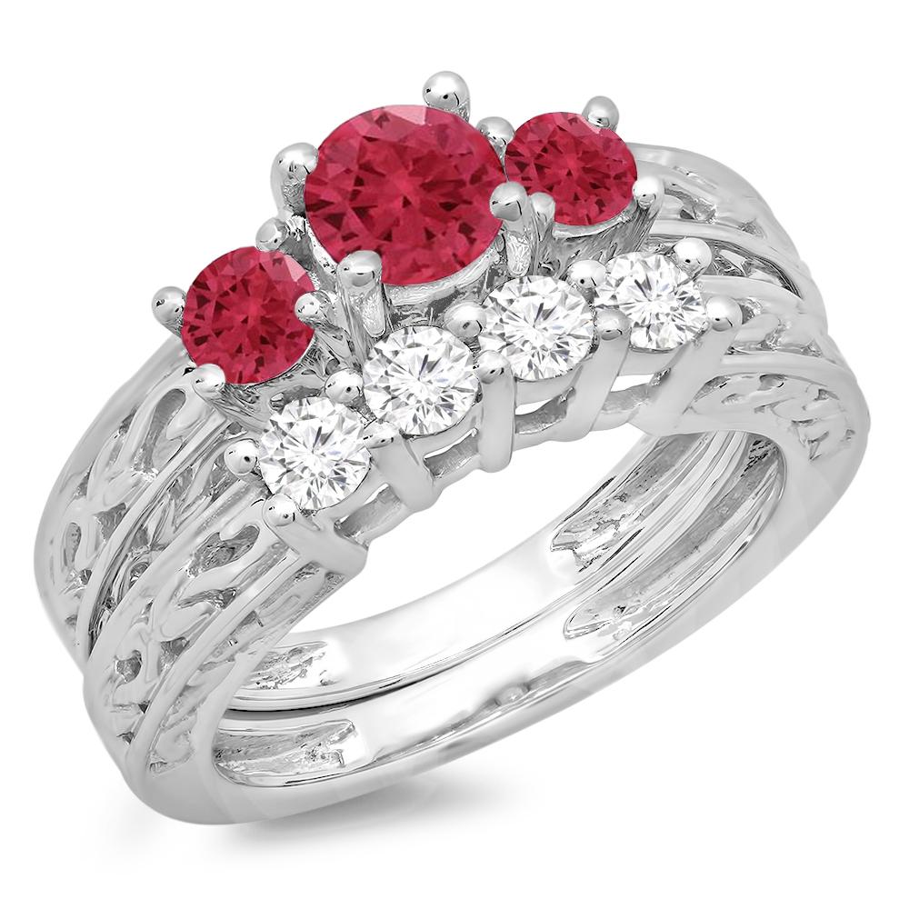 14K Gold Ruby & White Diamond Vintage 3 Stone Bridal Engagement Ring Set by DazzlingRock