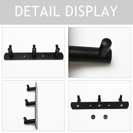 Stainless Steel Bathroom Hotel Towel Hanger Rack Holder Painting Black 3 Hooks - image 3 de 7