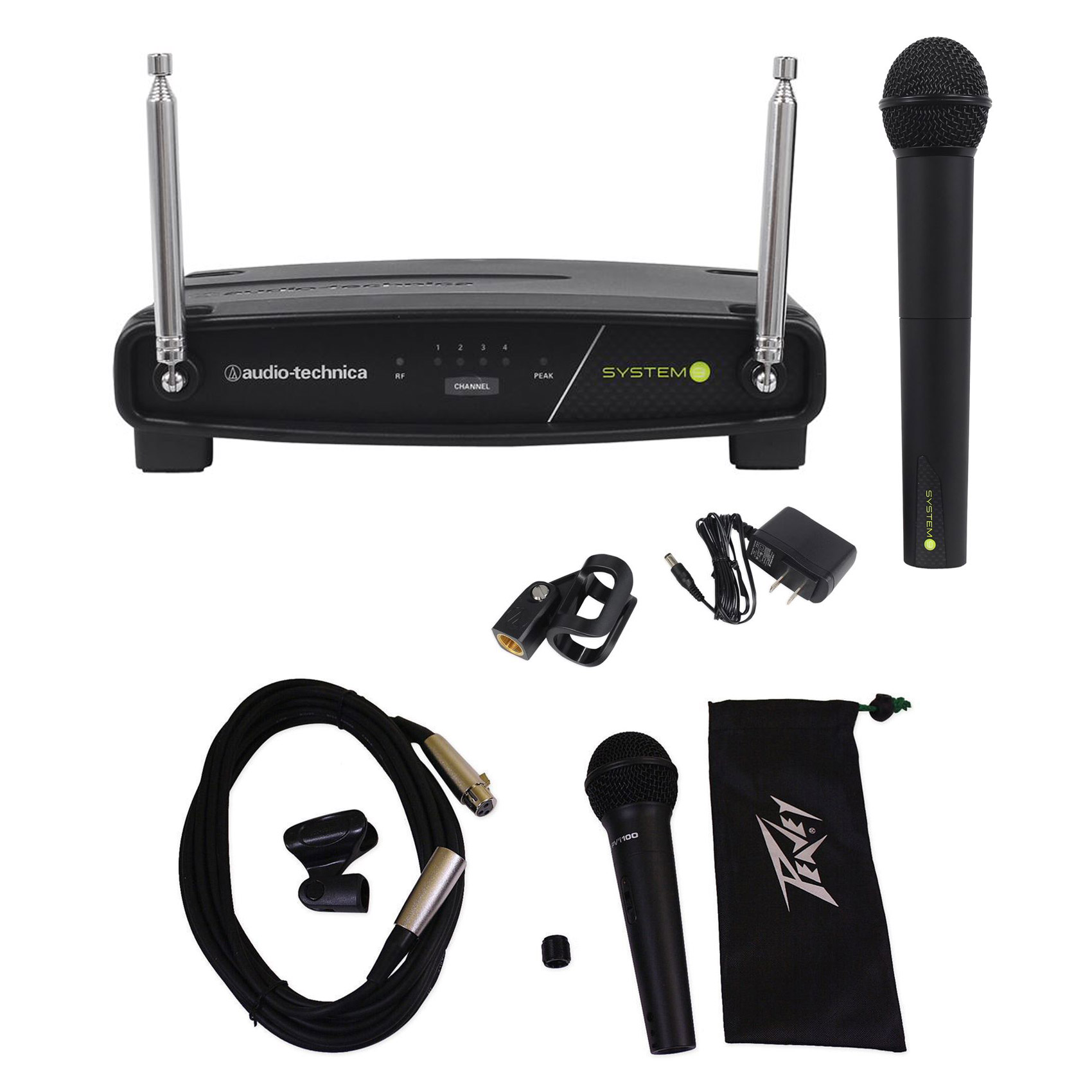 Audio Technica ATW-902 9 VHF Wireless Microphone System+Xtra Mic Case Clip Cable by Audio Technica