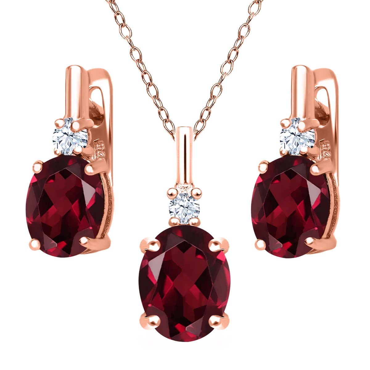 6.65 Ct Red Rhodolite Garnet White Created Sapphire 18K Rose Gold Plated Silver Pendant Earrings Set by