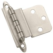 Amerock 2 in. W x 2-3/4 in. L Satin Nickel Steel Decorative Hinge 10 pk - Case Of: 1; Each Pack Qty: 10; Total Items Qty: 10