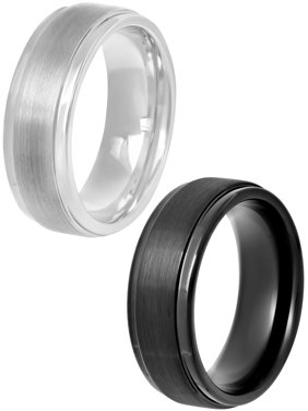 Mens Black and White Tungsten 8mm Step-Edge Comfort Fit Wedding Bands, 2-pc Ring Gift Set