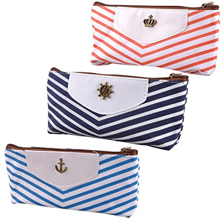 eZAKKA Retro Pencil Pouch Pen Case Canvas Stationery Bag with Zipper Gift for Student Kids,3-Pack