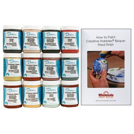 Duncan INKIT-1 Envision Glaze Kit for Ceramics - 12 Popular Colors - 4 oz jars