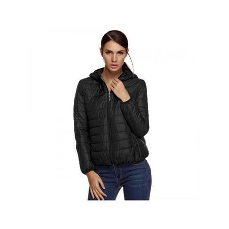 Lowest Price ever ! Women Winter Short Coat Women Front Zippere Cotton Blend Hooded Coat Outerwear