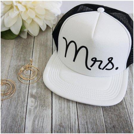 Mr. and Mrs. Cursive Font Wedding Party Mesh Trucker Snap Back Hat (Mrs, Cursive Black Lettering)
