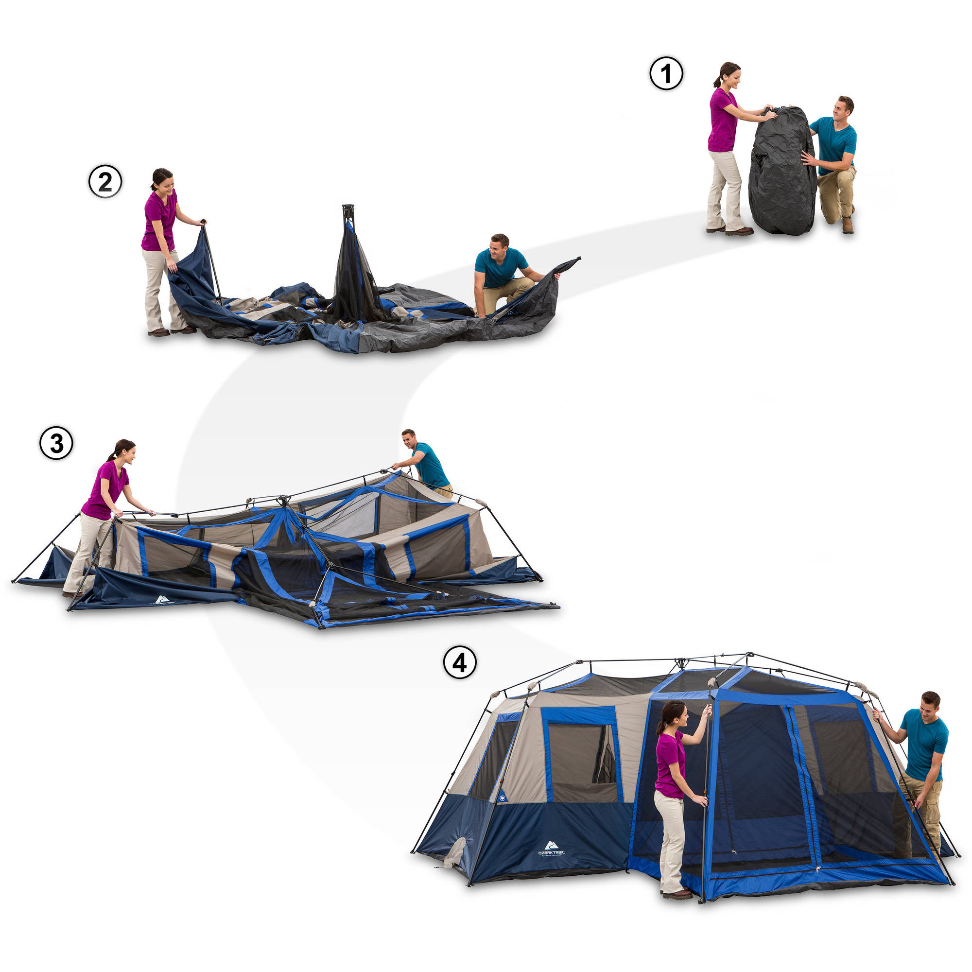 Ozark Trail 12 Person 2 Room Instant Cabin Tent With Screen Room    Walmart.com