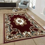 "Allstar Burgundy Woven High Quality Rug. Traditional. Persian. Flower. Western. Design Area Rug (7' 7"" x 10' 6"")"