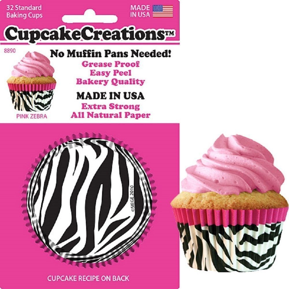 8890, Cupcake Creations, No Muffin Pan Required Baking Cups, Pink Zebra by SRT Appliance Parts
