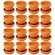 16-Pack Terra Cotta Pots with Saucer, Mini Small Terracotta Flower Clay Pots Planters With Saucer Ceramic Pottery Nursery Indoor Outdoor Gardening for Cacti & Succulent Plants, Brown 1.9 x 1.5 Inches