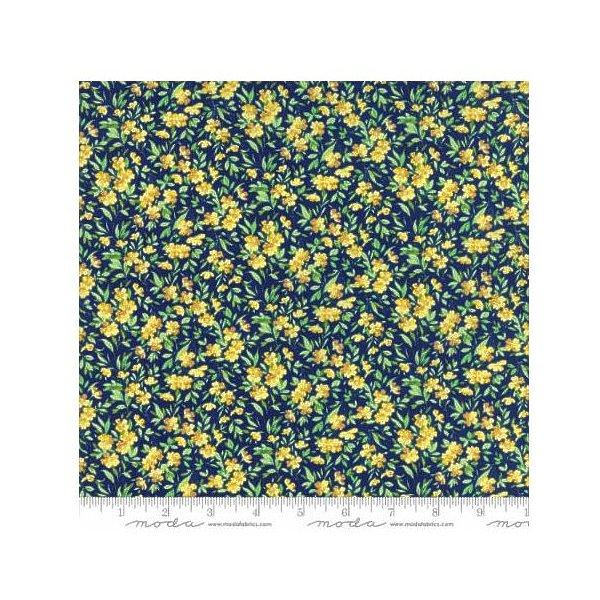 Summer Breeze V~Buttercup Dark Blue - Yellow Flowers  - Moda Cotton Fabric