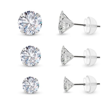 14k White Gold Brilliant Cut Clear Round Circle Cubic Zirconia Martini Setting Stud Earrings 4mm 5mm 6mm