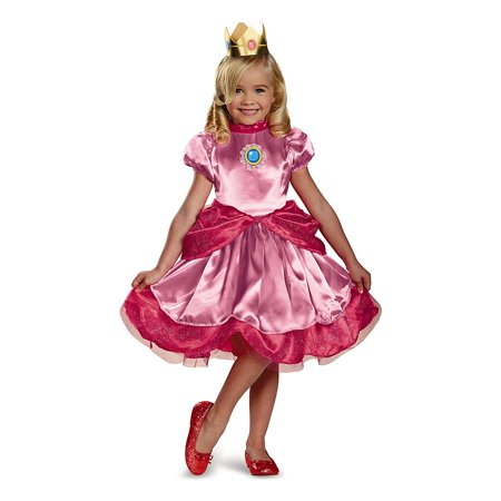 Nintendo Super Mario Brothers Princess Peach Girls Toddler Costume, Small/2T, Quality materials used to make Disguise products By Disguise](Mario And Peach Costumes)