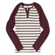 Aeropostale Mens Striped Raglan Henley Shirt