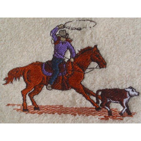 Big Black Horse Embroidered Calf Roping Towel Set - White