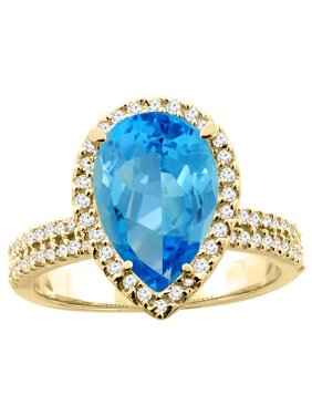 14K Yellow Gold Natural Swiss Blue Topaz Ring Pear 12x8mm Diamond Accents, size 6