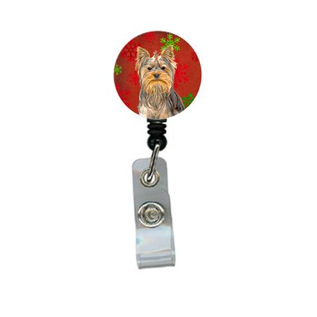 Red Snowflakes Holiday Christmas Yorkie And Yorkshire Terrier Retractable Badge Reel