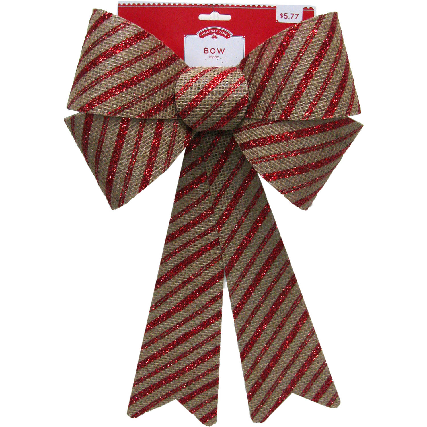 Holiday Time Glitter Stripe Burlap Rigid Bow