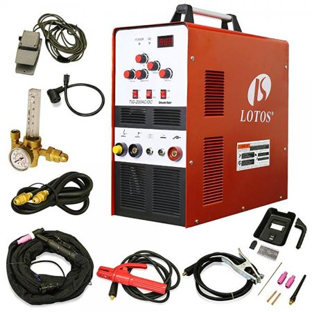 lotos tig200acdc 200a ac/dc aluminum tig welder with dc stick/arc welder, square wave inverter with foot pedal and argon regulator 110/220v dual voltage (Lincoln Square Wave Tig 175 Pro Reviews)