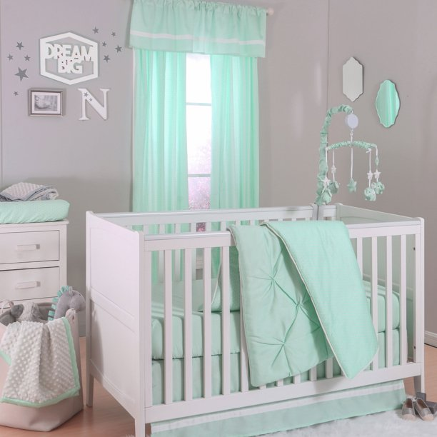 The Peanut Shell 4 Piece Baby Crib, Gray And Mint Green Baby Bedding