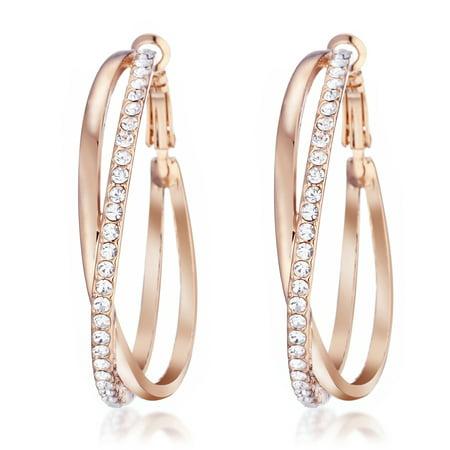 Gemini Ladies Jewerly Rose Gold Plated Big Round Hoop Swarovski Crystal Pierced EarringsGm032Rg , Size: 5cm Color: Rose - Large Pierced Plate