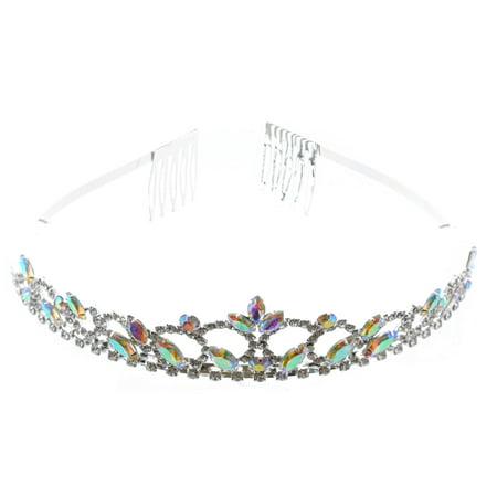 Fashion Jewelry Silver Plating Aurora Borealis Rhinestone Wedding Tiara