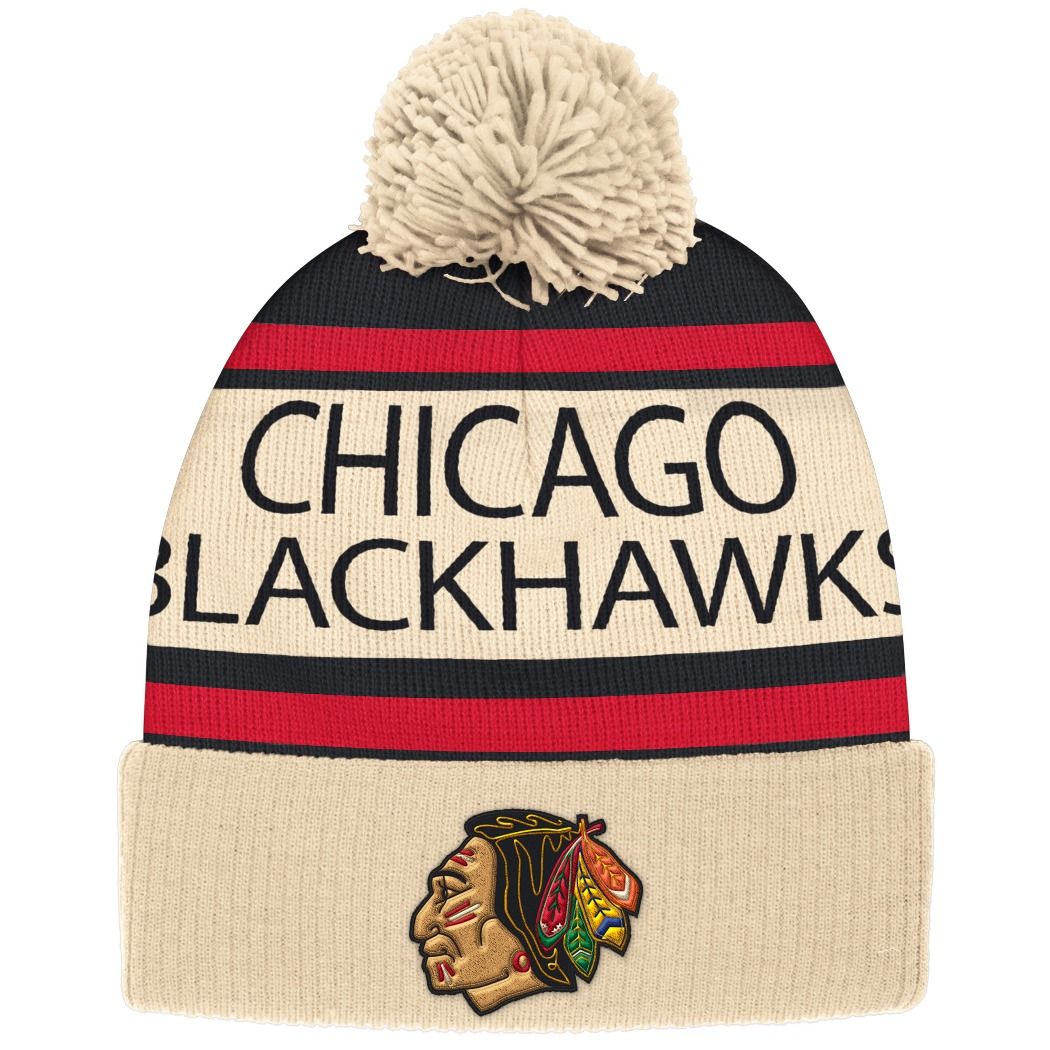 "Chicago Blackhawks CCM NHL ""Heritage"" Cuffed Knit Hat with Pom by Adidas"