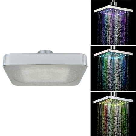 "6"" Square Rain Shower Head,6 inch LED Chrome Face Shower Head Stainless Steel 7 color Changing Hottestlaus LED Light"