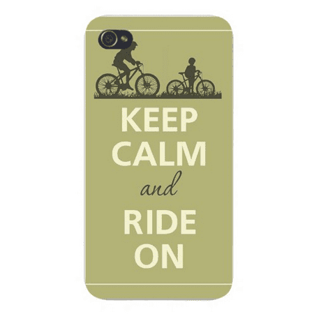 Apple Iphone Custom Case 5 / 5s AND SE White Plastic Snap on - Keep Calm and Ride On Parent w/ Child