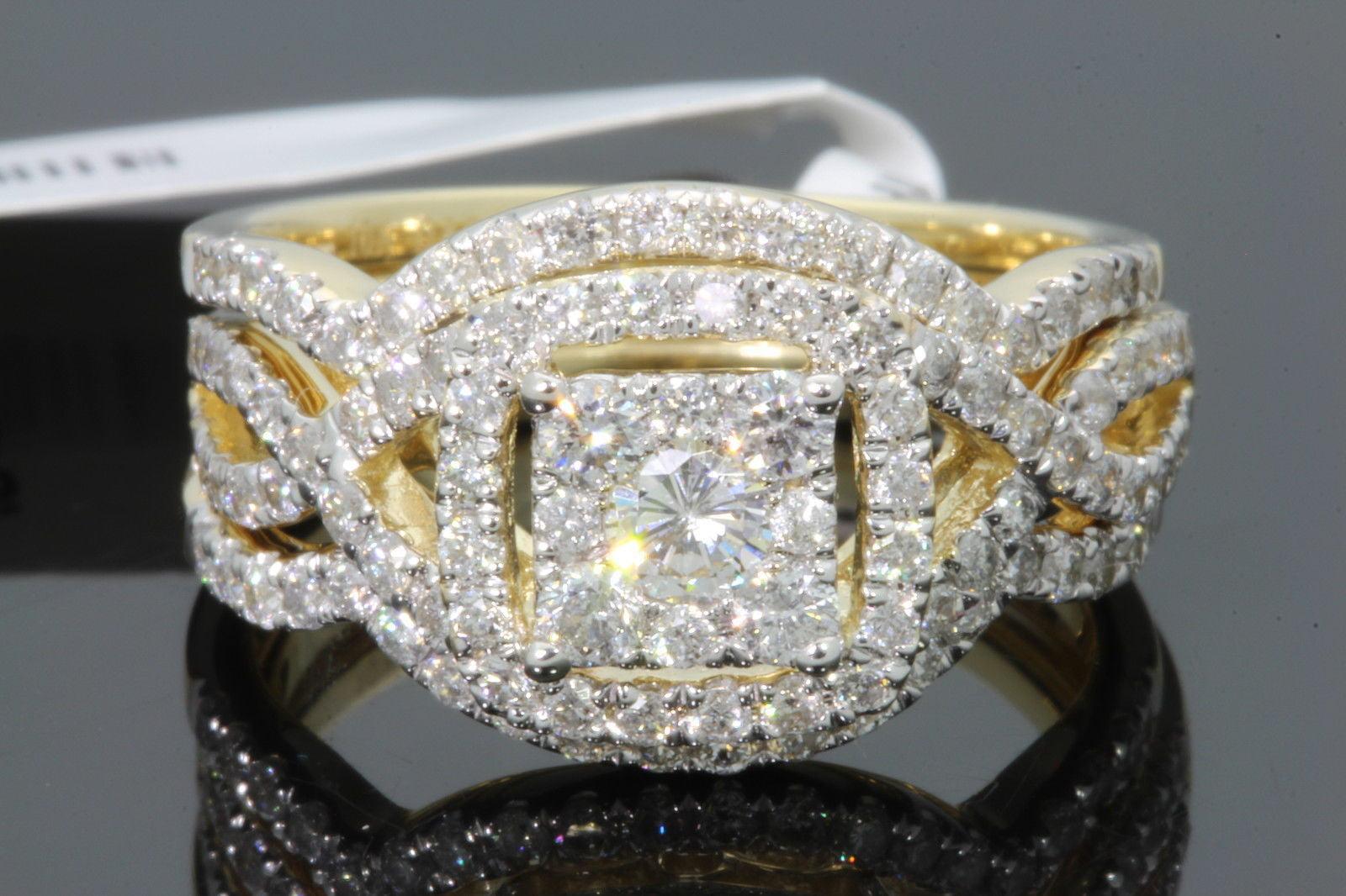 10K YELLOW GOLD 1.43 CARAT WOMENS REAL DIAMOND ENGAGEMENT RING WEDDING BANDS SET by Wholesale Diamonds