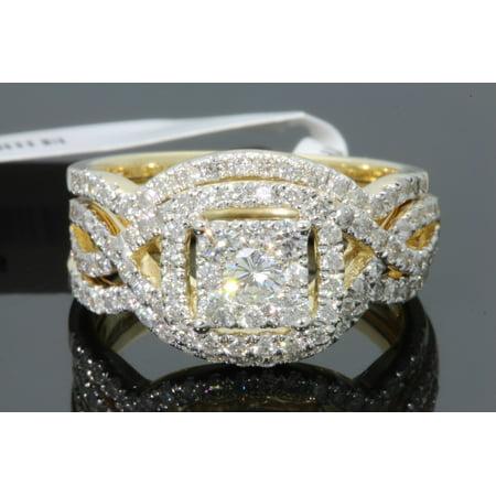 10K YELLOW GOLD 1.43 CARAT WOMENS REAL DIAMOND ENGAGEMENT RING WEDDING BANDS SET - SIZE 7