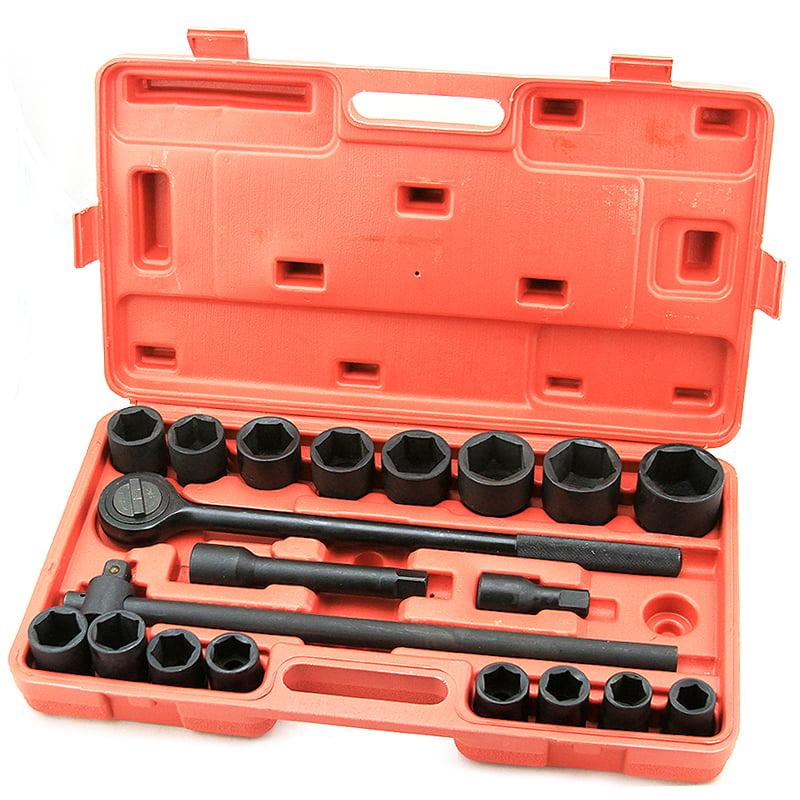 21 Pc 3/4 DR Inch Drive Tool Black Impact Ratchet Socket Set Standard Size Sae
